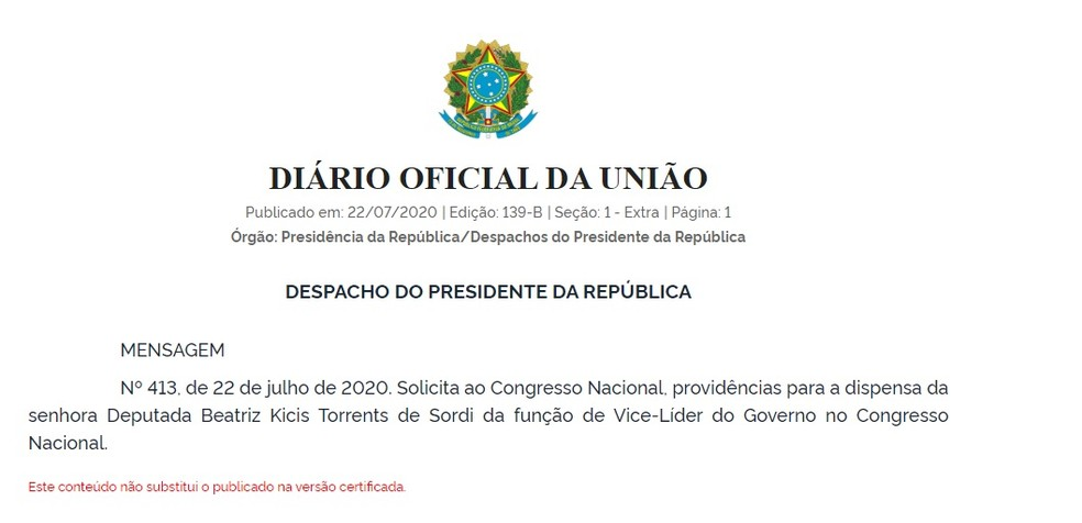Ato do presidente Jair Bolsonaro publicado no 'Diário Oficial da União' — Foto: Reprodução