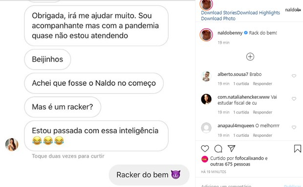 Perfil do Instagram de Naldo é hackeado (Foto: Reprodução/Twitter)