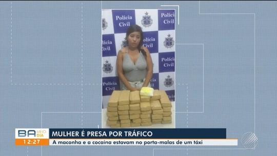 Mulher suspeita de tráfico de drogas é presa com mais de 20 kg de maconha em táxi na Bahia