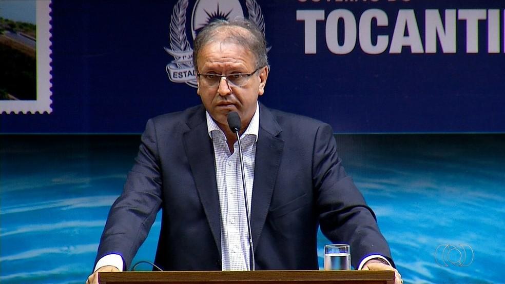 O governador Marcelo Miranda durante evento oficial em Tocantins (Foto: Reprodução/TV Anhanguera)