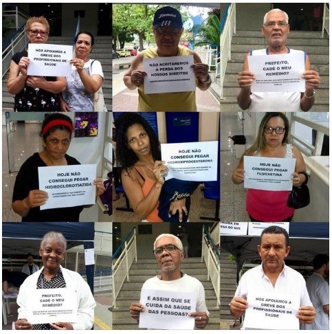 Movimento publicou fotos de pacientes protestando contra Crivella