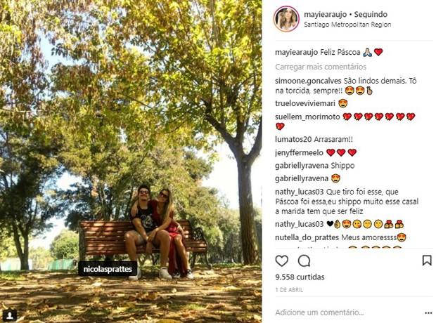 Nicolas Prattes e Mayara Araújo passaram Páscoa juntos no Chile (Foto: Reprodução/Instagram)