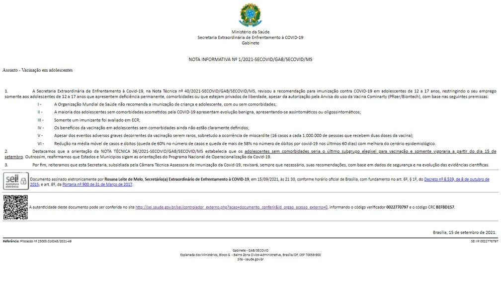 Prefeitura de Natal suspendeu vacinação de adolescentes sem comorbidades após receber documento — Foto: Reprodução