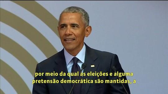 Obama alerta para autoritarismo e 'democracias dissimuladas' em discurso na África do Sul