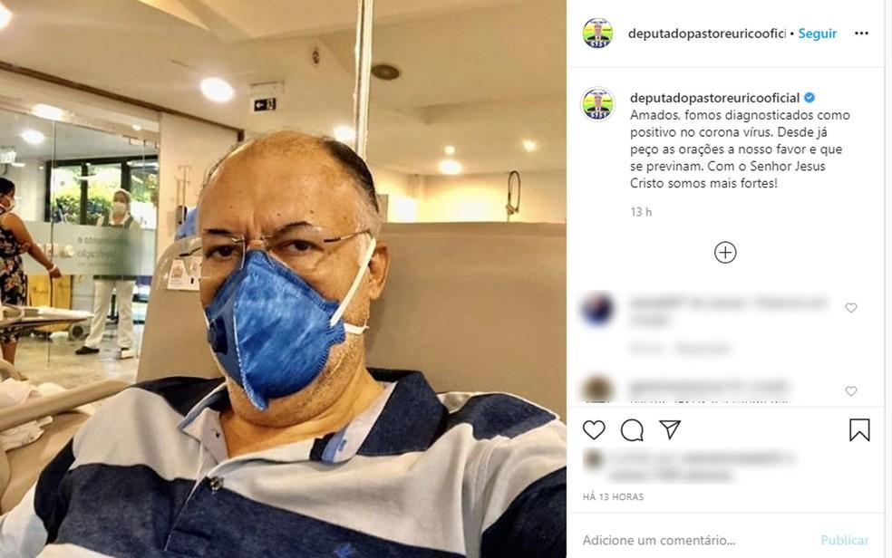 Deputado federal Pastor Eurico divulgou nas redes sociais o diagnóstico positivo para o novo coronavírus — Foto: Reprodução/Instagram