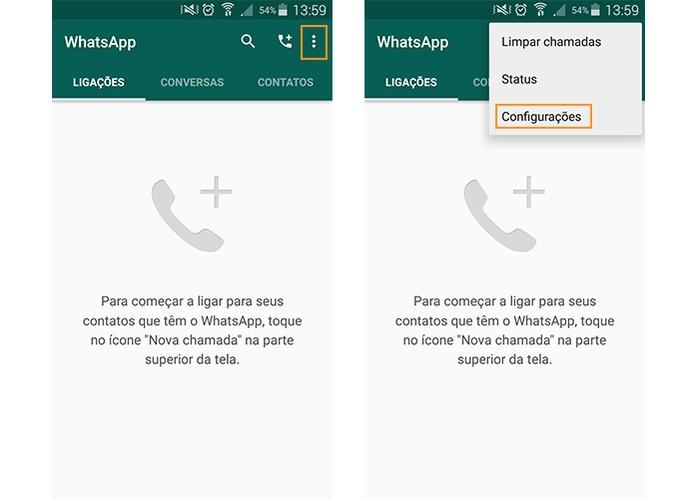 Acesse as configurações do WhatsApp (Foto: Reprodução/Barbara Mannara)