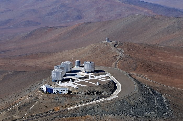 Imagem área do Very Large Telescope (VLT), do Observatório Europeu do Sul (Foto: Observatório Europeu do Sul ( ESO) )