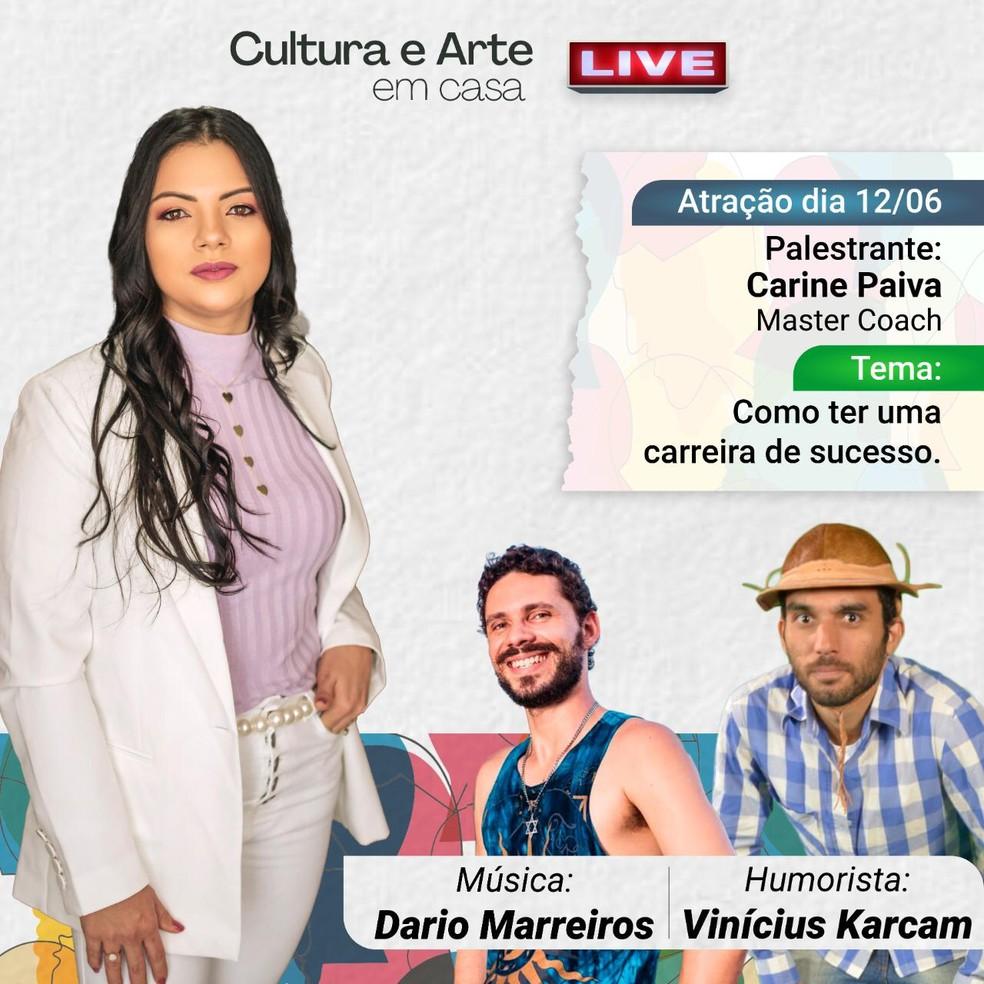 'Projeto Cultura e Arte em Casa' realiza live sobre arte, literatura e desenvolvimento pessoal — Foto: Fundação Valter Alencar