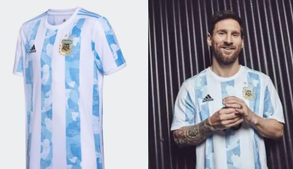 Messi com a nova camisa da Argentina — Foto: Divulgação