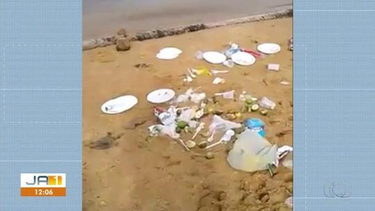 Vídeo mostra plásticos e restos de alimentos jogados na praia da Graciosa