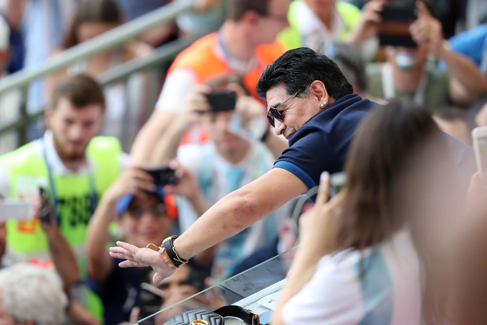 Maradona está em Kazan para acompanhar Argentina contra a França (Foto: Catherine Ivill/Getty Images)