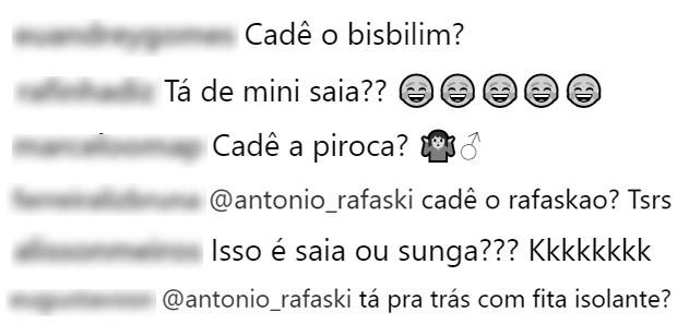 Seguidores questionam Antonio Rafaski (Foto: Reprodução/Instagram)