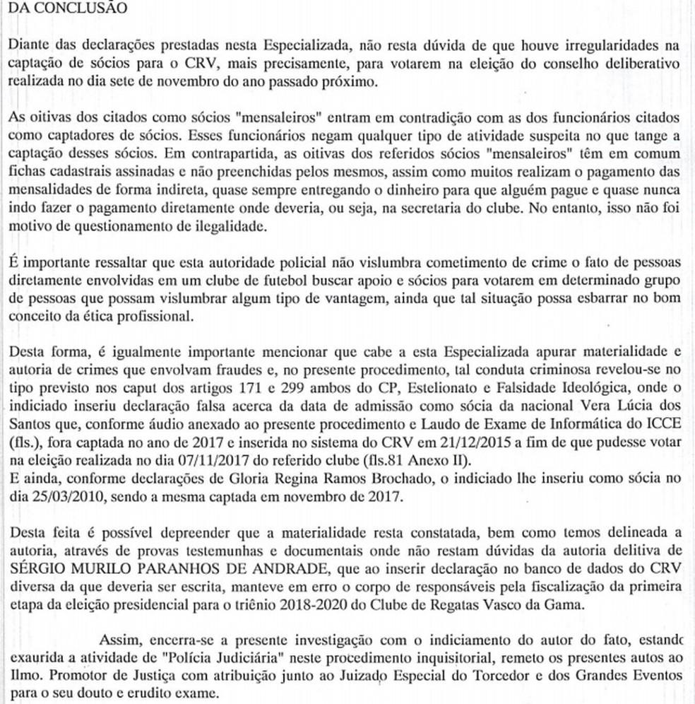 Conclusão do inquérito da Delegacia de Defraudações — Foto: Reprodução