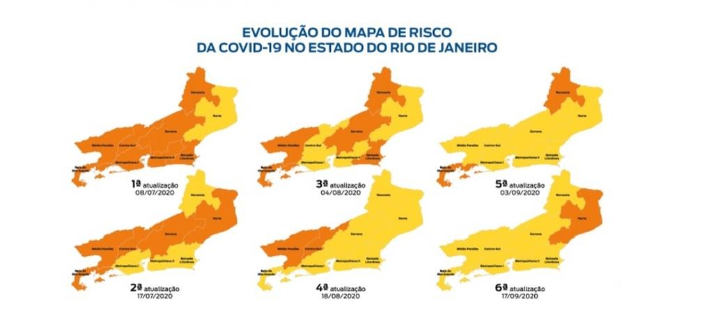 Evolução do mapa de Risco para Covid no estado do RJ — Foto: Divulgação