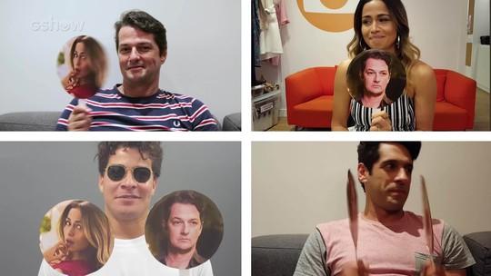 Nanda Costa, Marcelo Serrado, João Baldasserini e Thiago Martins brincam do 'jogo do entrega'