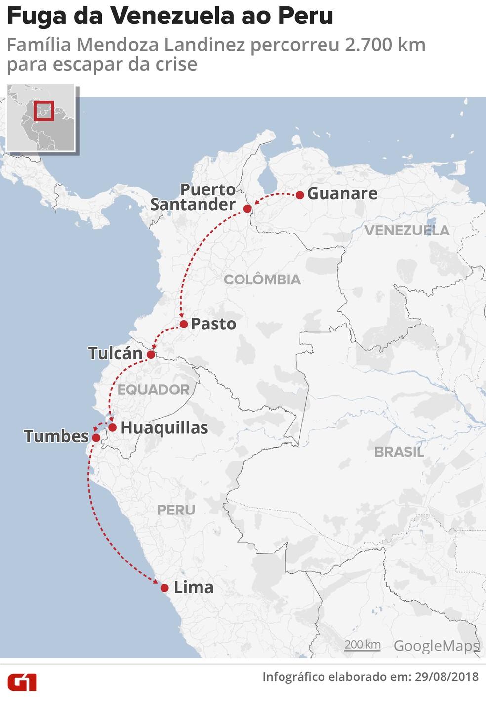 Trajeto da família Mendoz Landinez da Venezuela ao Peru (Foto: Infografia: Igor Estrella/G1)