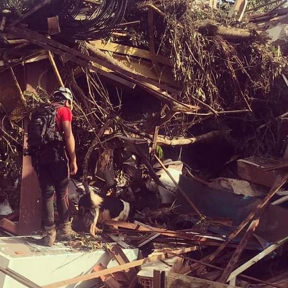 Tenente Lucas faz buscas por vítimas acompanhado pelo cão Thor — Foto: Corpo de Bombeiros