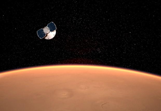 Projeção da sonda InSight se aproximando da atmosfera de Marte. Os cerca de sete minutos que levam a entrada são considerados cruciais para o sucesso da missão (Foto: NASA-JPL-Caltech)