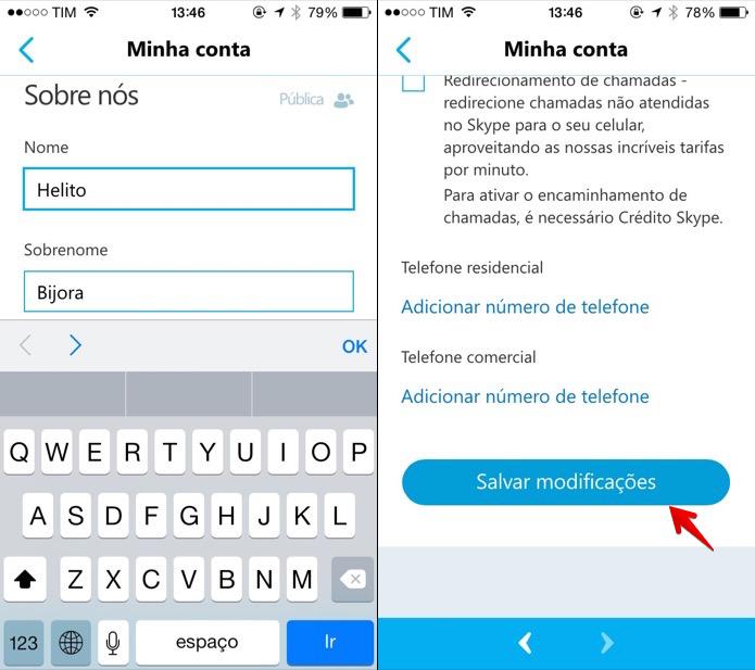 Alterando nome pelo Skype para iOS (Foto: Reprodução/Helito Bijora)