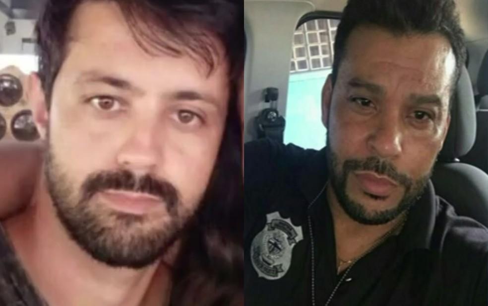 Agentes prisionais Eduardo e Ednaldo foram mortos a tiros em An�polis (Foto: Reprodu��o/TV Anhanguera)