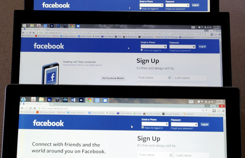 -  Páginas de entrada do Facebook.  Foto: Rick Wiking/Reuters