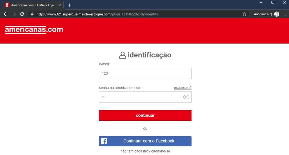 Página falsa da Americanas em endereço muito diferente do site verdadeiro — Foto: Reprodução