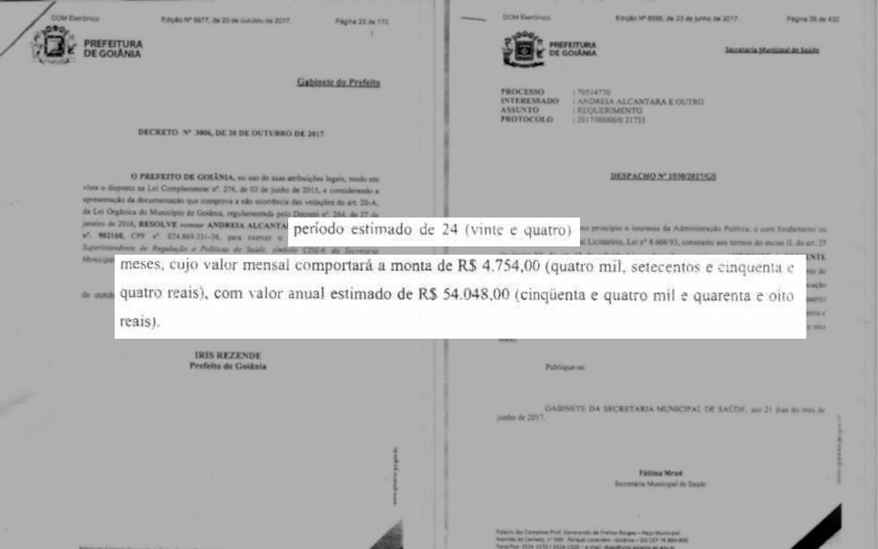 Despachos autorizam o pagamento do mestrado para as servidoras, em Goiânia (Foto: Reprodução)
