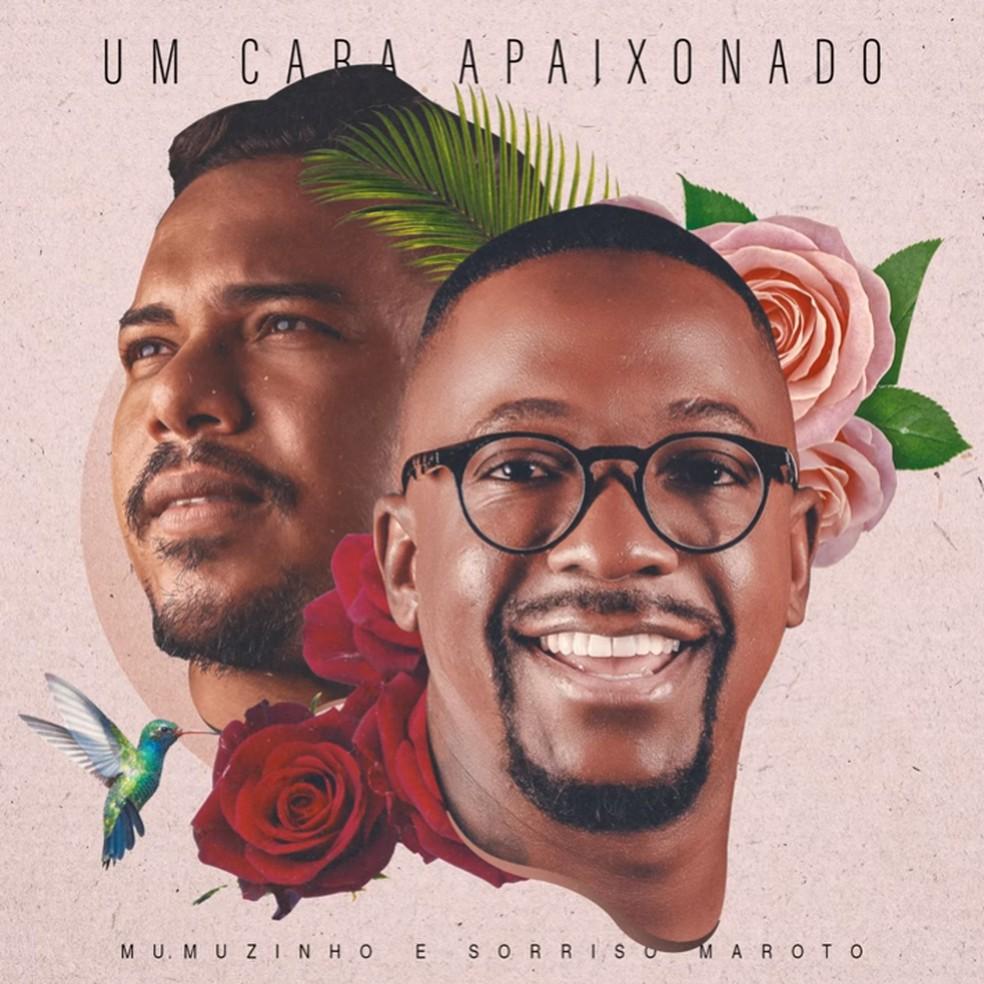 Capa do single 'Um cara apaixonado', de Mumuzinho com Bruno Cardoso, vocalista do grupo Sorriso Maroto — Foto: Reprodução