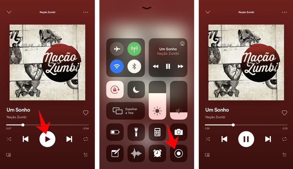Gravando a tela do player do Spotify no celular — Foto: Reprodução/Rodrigo Fernandes