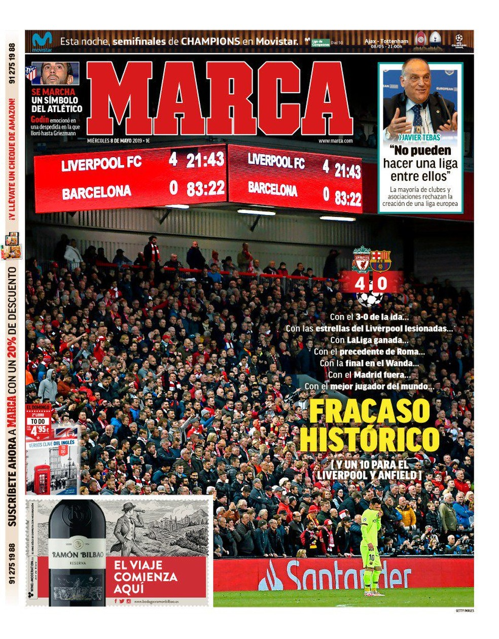 Marca Liverpool x Barcelona — Foto: Reprodução
