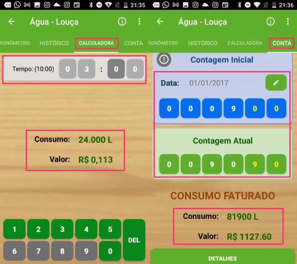 A calculadora permite ver o valor gasto em uma ação, enquanto a função de conta mostra o valor aproximado de cobrança — Foto: Reprodução/Marvin Costa