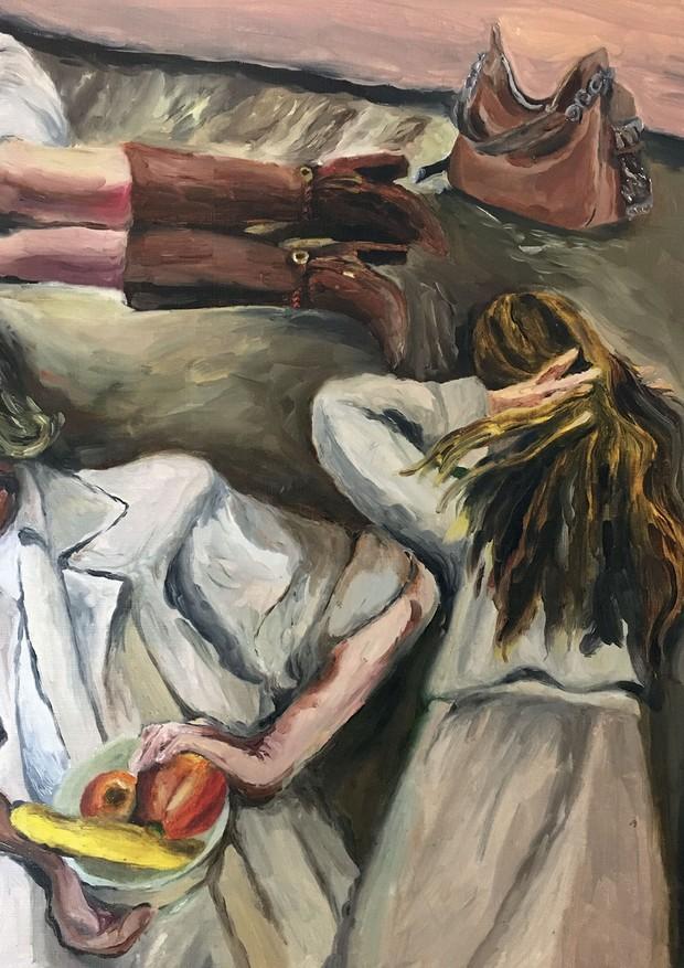 Casaco (R$ 2.239) e vestido (R$ 1.059), ambos Rocio Canvas, botas (700) e bolsa (R$ 700), ambas Luz da Lua (Foto: Ilustrações: Mari Duarte, Ina Gouveia, Giulia Puntel, Daiana Ruiz e Jess Vieira)