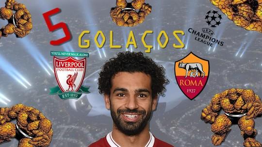 Cinco Coisas: veja cinco golaços de Salah por Roma e Liverpool