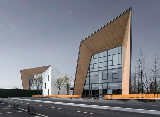 Arquitetos chineses criam escola com fachada de metal dobrado (Foto: Divulgação)