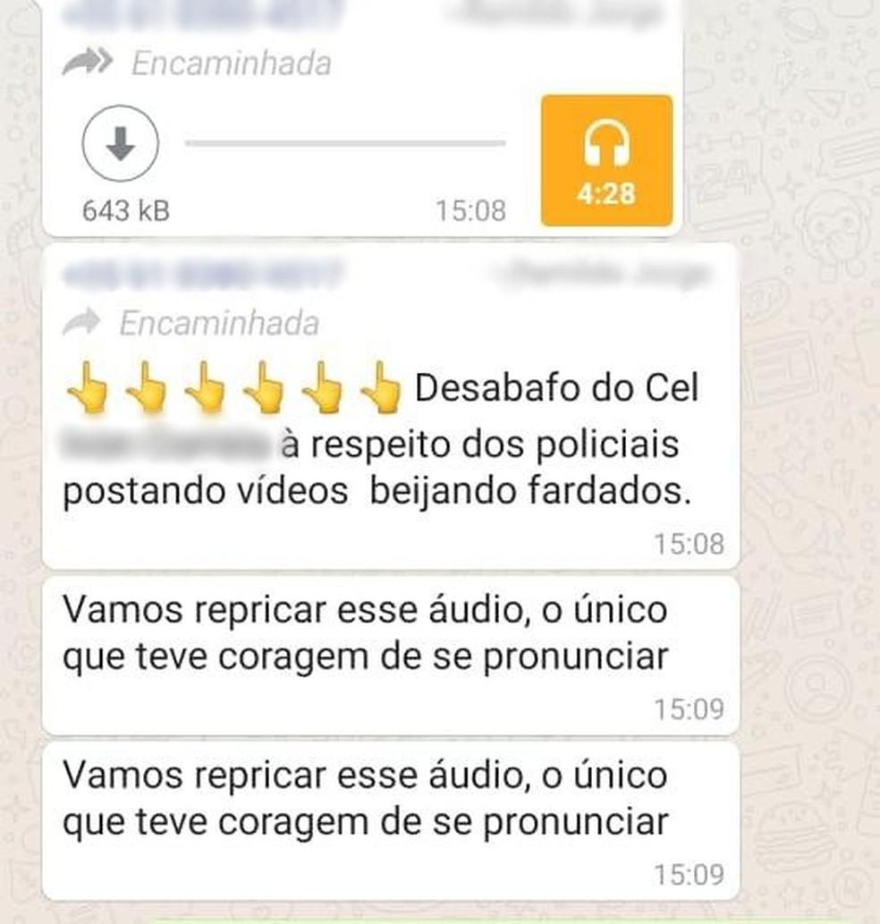 Áudio tem sido compartilhado  em grupos de conversa  — Foto: Whatsapp/Reprodução