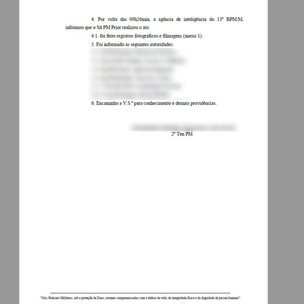 """Segunda parte do documento atribuído à PM, e que circula na web, pede """"providências"""" contra a atitude do soldado que pediu namorado em casamento usando farda da corporação — Foto: Reprodução/Redes sociais"""