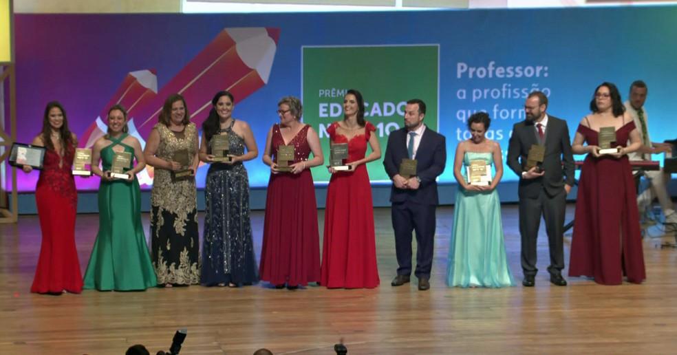 Cerimônia do Prêmio Educador Nota 10 de 2019 foi realizada na noite desta segunda-feira (30) na Sala São Paulo — Foto: Reprodução/TV Globo