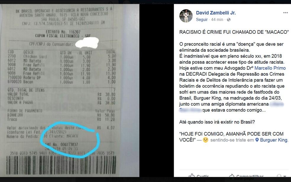 David postou a foto do cupom onde se lê 'macaco' no lugar do nome do cliente e fez um desabafo na sua rede social (Foto: Reprodução/Facebook)