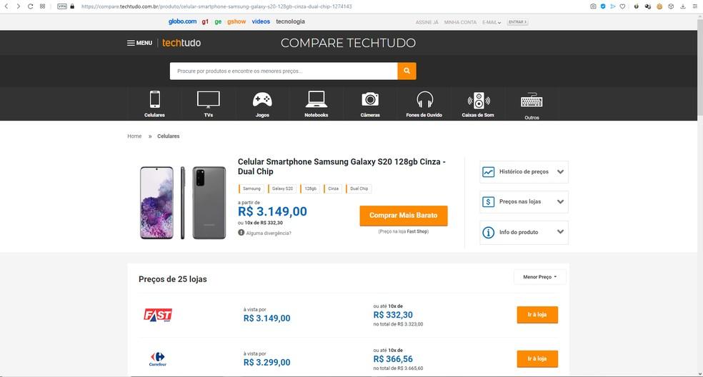 Compare TechTudo permite acompanhar a evolução dos preços e descobrir quem está oferecendo o valor mais baixo — Foto: Reprodução/Filipe Garrett
