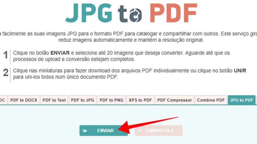 Faça upload de até 20 fotos do PC para o JPG to PDF — Foto: Reprodução/Paulo Alves