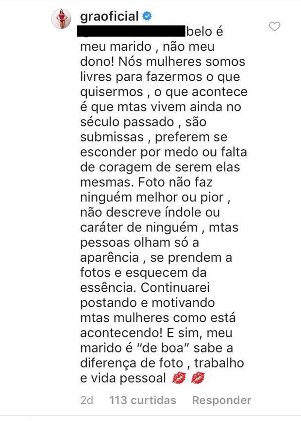 Respostas de Gracyanne Barbosa (Foto: Reprodução/Instagram)