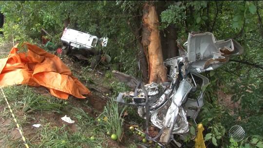 Jovem morre após carro cair em ribanceira e bater em árvore na Bahia; veículo ficou destruído