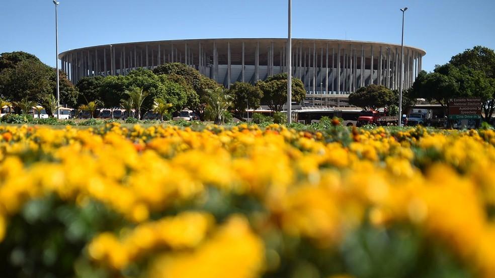 Canteiro de flores próximo ao Estádio Mané Garrincha, em Brasília (Foto: André Borges/Agência Brasília)