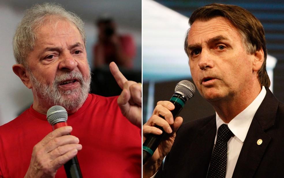 Lula amplia vantagem e está 21 pontos à frente de Bolsonaro, aponta pesquisa Datafolha para o 1º turno da eleição presidencial de 2022 — Foto: Leonardo Benassatto/Reuters; Fábio Vieira/Fotorua/Estadão Conteúdo
