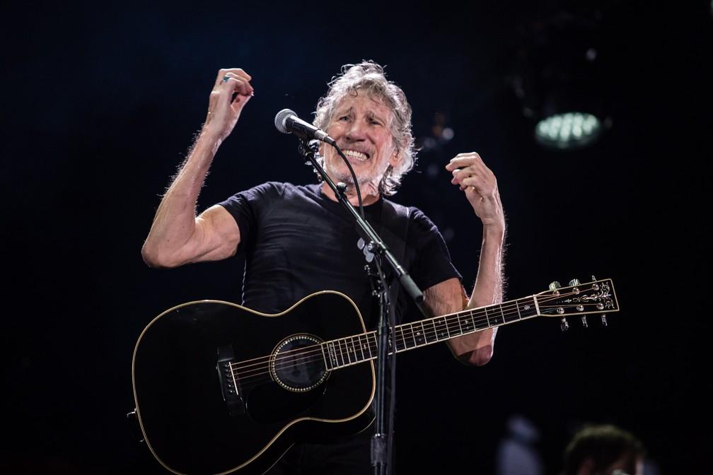 Roger Waters durante o show de terça-feira (9) em São Paulo — Foto:  Fábio Tito/G1