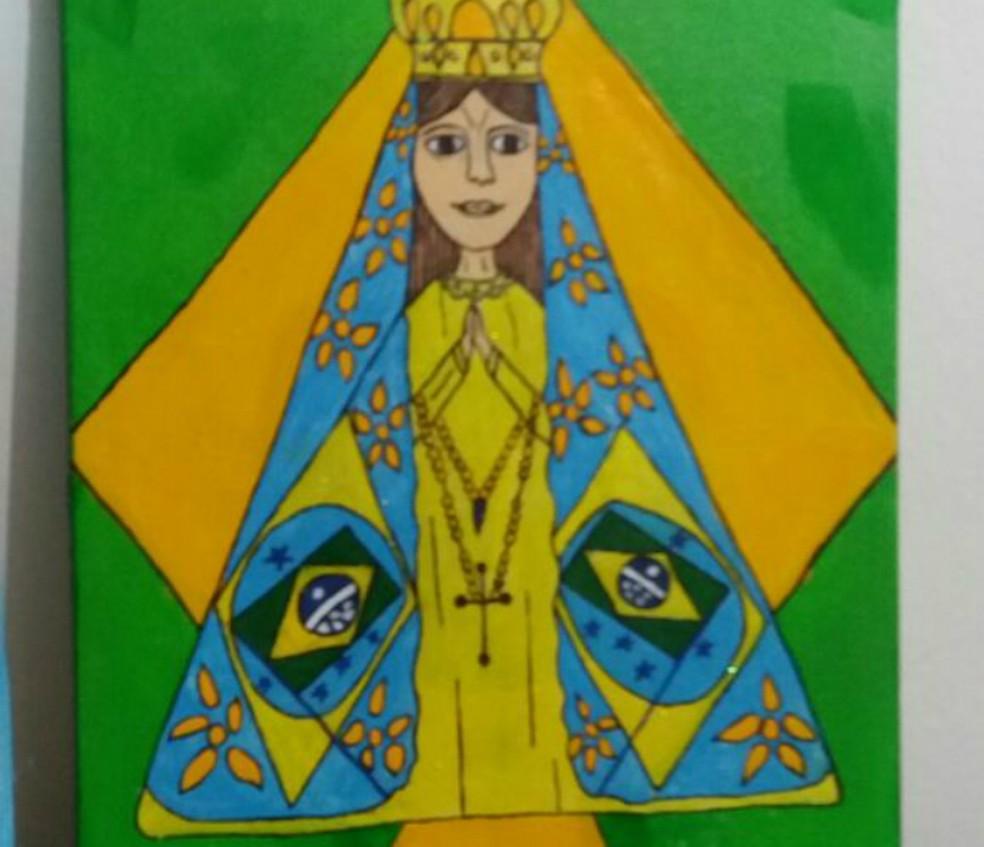 Nossa Senhora do Rim, personagem criada por Daniel. Foto de 2017 — Foto: Cleide Neves/Arquivo pessoal