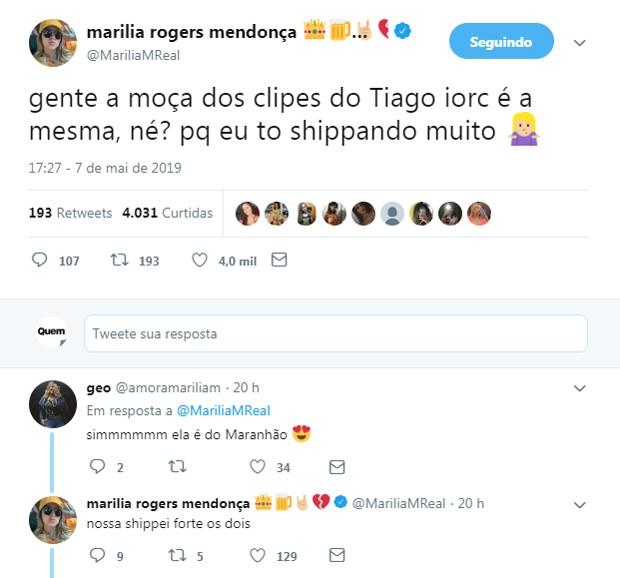 Marília Mendonça shippa romance entre Tiago Iorc e Michele Alves (Foto: Reprodução/Twitter)