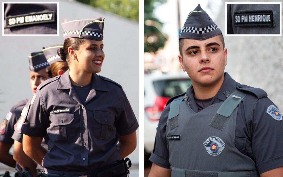 Polícia Militar de São Paulo tem primeiro policial transexual em quase 200 anos de história. Da esquerda para a direita: quando entrou em 2015 na PM como a soldado Emanoely, e recentemente, após ter sido reconhecido em 2018 como o soldado Henrique — Foto: Montagem: Divulgação/Arquivo Pessoal e Marcelo Brandt/G1