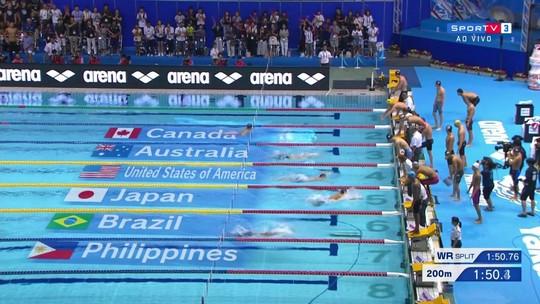 Equipe do Brasil fica com o quarto lugar no revezamento 4x100m medley masculino