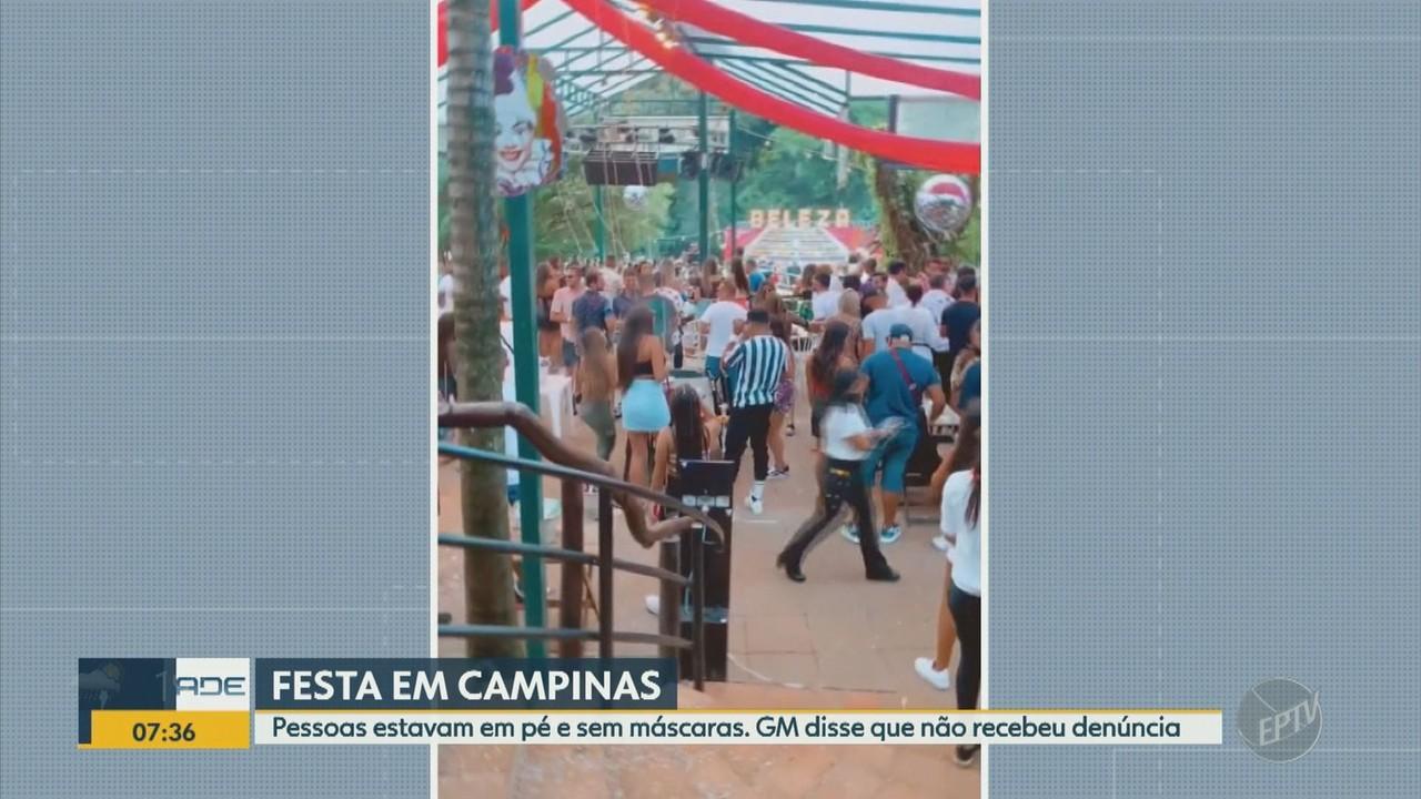Festa em Campinas tem aglomeração com pessoas em pé e sem máscara